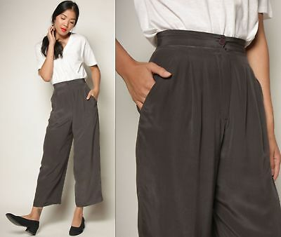 vtg 80s chic ANNE KLEIN charcoal gray SILK high waist pleat minimalist crop pant