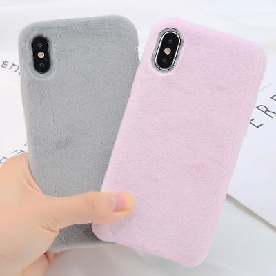 Winter Warm Soft Furry Rubber TPU Fur Case Cover Holder for iPhone X 8 7 6s Plus