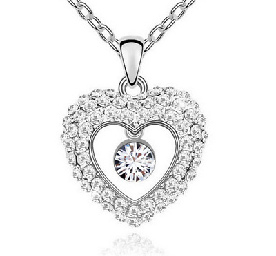 Fashion Womens Heart  Clear Crystal Rhinestone Silver Chain Pendant Necklace NEW