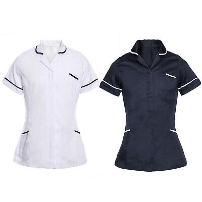 Nurses Tunic Uniform Vet Beauty Medical Dental Therapist Healthcare Navy White