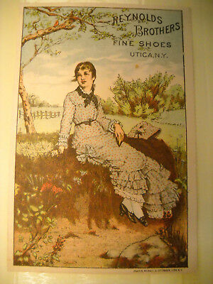 REYNOLDS BROS. FINE SHOES Victorian TRADE CARD CHROMOLITHO country girl UTICA NY