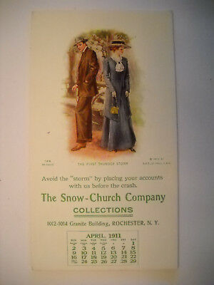 SNOW-CHURCH COLLECTIONS 1911 ANTIQUE unused blotter calendar CHROMO ROCHESTER NY