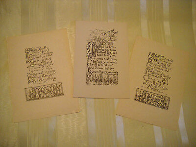 LOT of 3 ANTIQUE 1910's Arts and Crafts era VERSE MOTTO cards B/W LITHO VALHAL