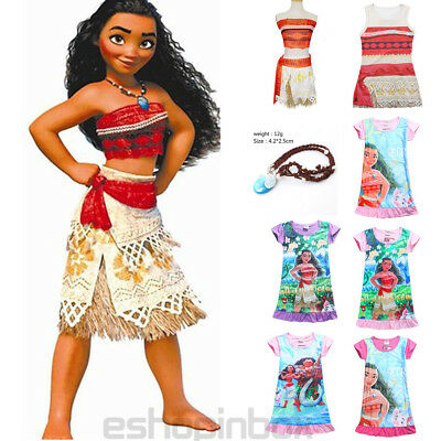 Kid Costumes Moana Princess Girl Fancy Dress Cosplay Sundress Clothes Nacklace