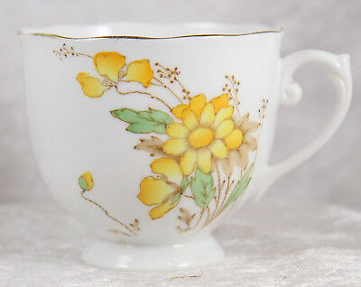 Roslyn china trio cup saucer & plate yellow flowers afternoon tea wedding