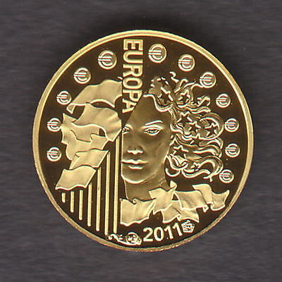 France. 2011 Gold 5 Euro..  World Music Day..  0.5gram  .999 gold.. Proof