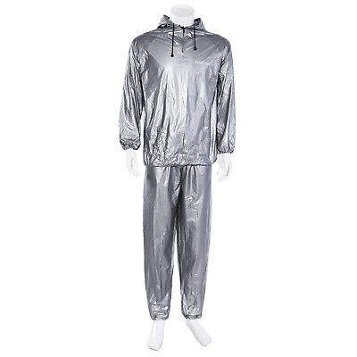 Silver Sauna Sweat Suit Hoodie Heavy Duty Loose Weight Fitness Exercise Gym