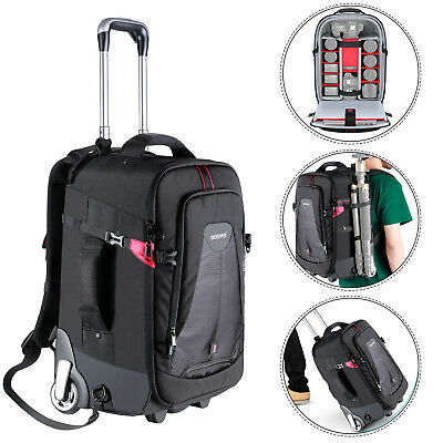 Neewer 2-in-1 Rolling Camera Backpack Trolley Case for Camera Tripod Flash Light