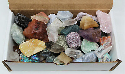 Bulk Crafters Collection Box 1 lb Mix Natural Gems Crystals Mineral Rocks Stones