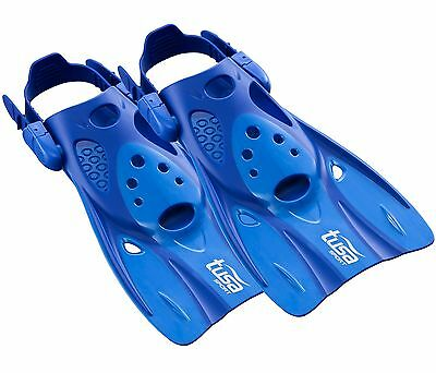 Tusa Snorkel Fins Flippers with Strap  - Short Blade for Easy Travel - BLUE