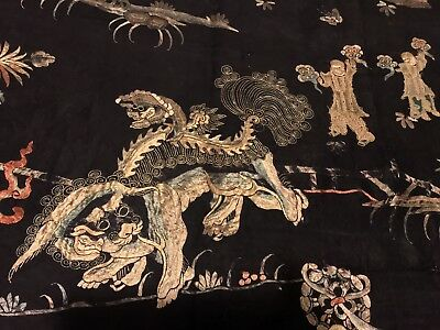 ANTIQUE CHINESE PANEL EMBROIDERED SILK QING DYNASTY EMBROIDERY 18/19 th CENTURY