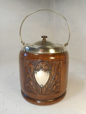 Vintage Oak Carved  Biscuit Barrel  ,   ref 3063