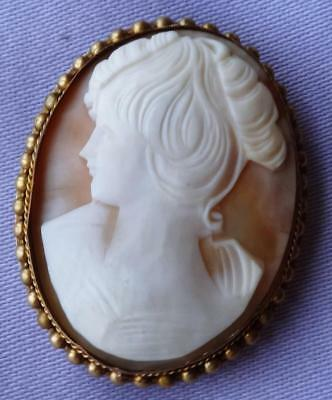 Vintage Gilt Framed Classical Lady SHELL CAMEO Brooch/Pendant