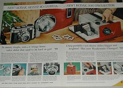 1957 KODAK Cameras 2-page advertisement for Signet 40 Camera & projector