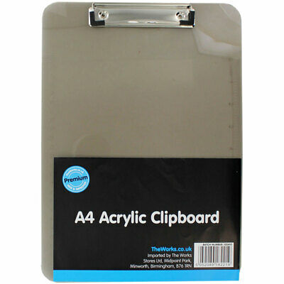A4 Acrylic Clipboard, Stationery, Brand New