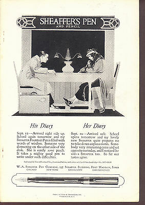 1920 Sheaffer's Pen & Pencil ad His & Her Diary School kids No. 29C