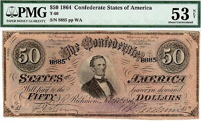 T-66 PF-5 $50 1864 Confederate Paper Money - PMG About Uncirculated 53 Net!