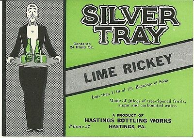 Vintage Silver Tray Lime Rickey Label Hastings Bottling Works Hastings  Pa.
