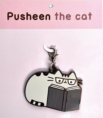 PUSHEEN the Cat Reading with Glasses Keychain / Backpack Charm >NEW<