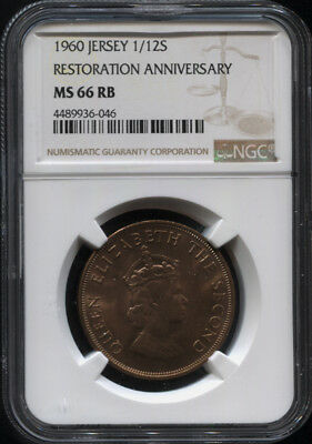 Tt 1960 Jersey Restoration Anniversary 1/12 Shilling Ngc Ms 66 Rb Finest Known!