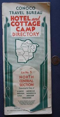 1930-40s Era Conoco Gas & Oil Hotel & Cottage Camp Guide booklet-Route 66 too!