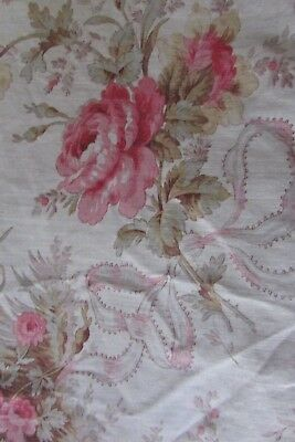 PRETTY ANTIQUE FRENCH INDIENNE FLORAL PRINT FRILLED SQUARE / CUSHION TOP c1880