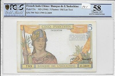 French Indo China / Banque de L'Indochine - 5 Piastres, nd (1946). PCGS 58. Unc.