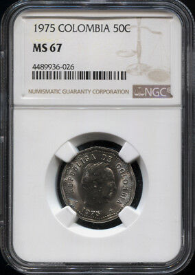 Tt 1975 Colombia 50 Centavos Santander Ngc Ms 67 Monster Gem Sole Graded Example