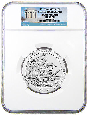 2017 George Rogers Clark 5 oz Silver ATB Beautiful Coin NGC MS69 DPL ER SKU49834