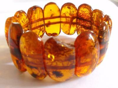 Vintage 1970's Genuine Natural Amber Chunky Bead Panel Stretch Bracelet Bangle