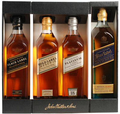 Johnnie Walker Gift set collection new! Blue, black, platinum, gold 200ml set