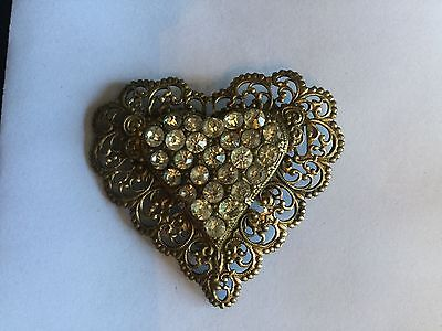 Vintage Edwardian Heart Shaped Brass And Rhinestone Brooch
