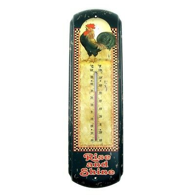 Rise&Shine Rooster Indoor/Outdoor Thermometer Chicken Farm Patio/Garden Decor