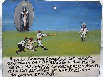 EXVOTO EX VOTO RETABLO Baseball pitcher is hit in the head!