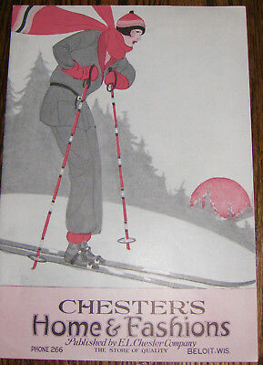 1939 Fashion Home Catalog-Chester Dept Store-Beloit-Wi Lady Skiing Cover-Deco