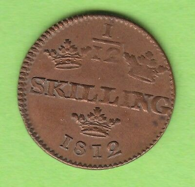 Sweden 1/12 Skilling 1812 almost xf nice leipzig