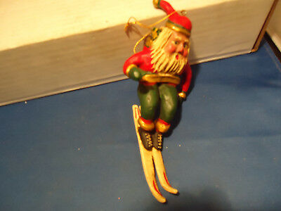 Bill Jauquet Folk Art Santa Clause  Skiing  Americana  Christmas Ornament signed