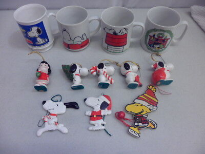 Vintage Lot of Snoopy and the Peanuts Gang Ornaments and Mugs