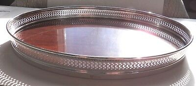 "12"" Oval Sterling Silver Rim Serving Tray Mahogany Wood ~ Estate Vintage"