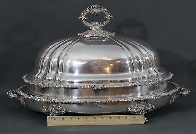Large Antique Victorian, Sheffield Silverplate, Turkey Meat Cover Hot Water Tray