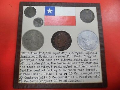 World Coins of Chile 2 1/2 - 5 - 10 - 20 Centavos 1 and 10 Peso Some Silver