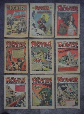 9 x THE ROVER / 1 x THE WIZARD - 10 x Comics   From   1971   1972   &   1973