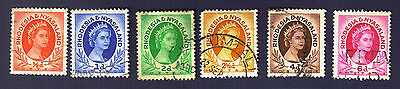 RHODESIA/NYASALAND-#141/147-QUEEN ELIZABETH II-GROUP of 6-USED