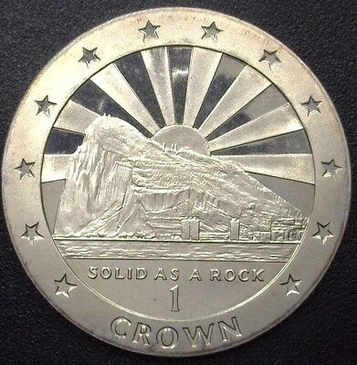 Gibraltar 1995 Crown -Sun Rise Over Rock- Near Perfect Proof Cameo Km#304