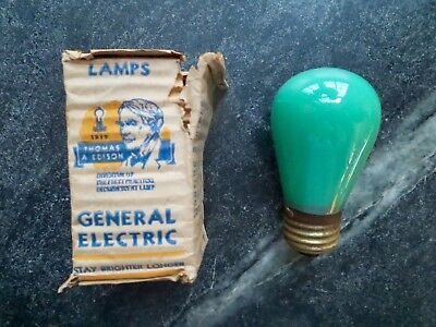 Vintage 1940s NOS * General Electric Mazda S-14 GREEN Sign/Marquis Bulb