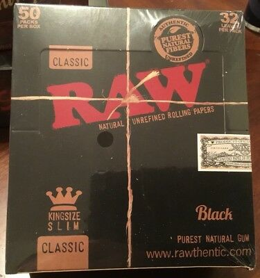 Raw Classic King Size Slim Black Rolling Papers 50 Packs(1 Box)