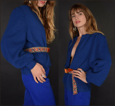 Vtg 70s lapis ribbed TEXTURAL plunging open front BLOUSON SLEEVE cardigan blouse