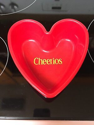 ! General Mills Cheerios heart shaped, red plastic cereal bowl. 2001