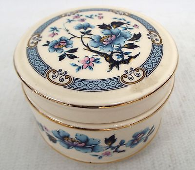 Vintage SADLER Trinket Box with Lid in Floral Blue Design  - P23