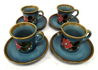 8 Piece Set of SCHRAMBERG Cups & Saucers with Retro Floral Design  - S77